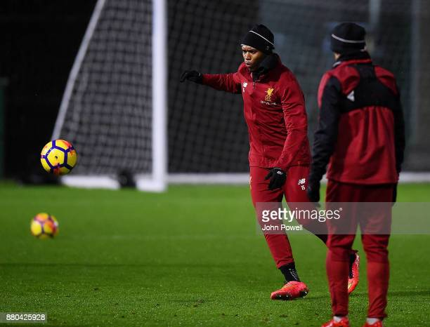 Daniel Sturridge of Liverpool during a training session at Melwood Training Ground on November 27 2017 in Liverpool England