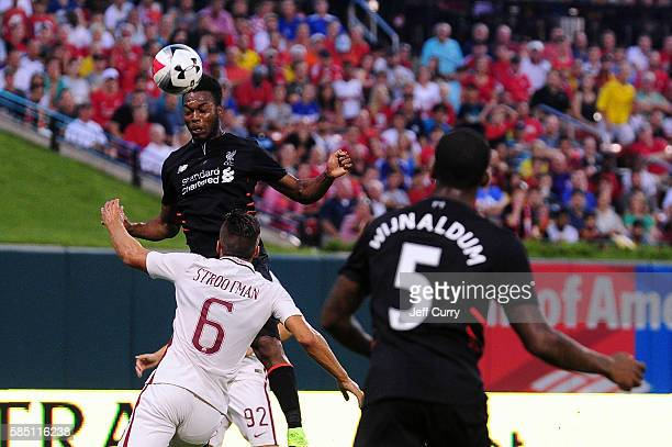 Daniel Sturridge of Liverpool FC heads the ball during a friendly match against AS Roma at Busch Stadium on August 1 2016 in St Louis Missouri AC...
