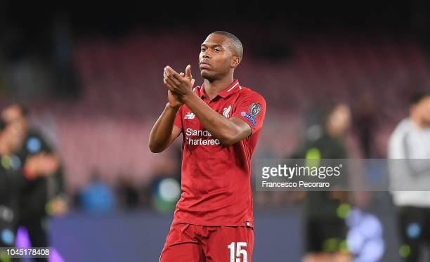Daniel Sturridge of Liverpool gestures after the Group C match of the UEFA Champions League between SSC Napoli and Liverpool at Stadio San Paolo on...