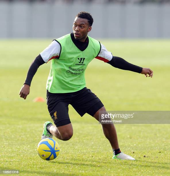 Daniel Sturridge of Liverpool in action during a training session at Melwood Training Ground on January 4 2013 in Liverpool England