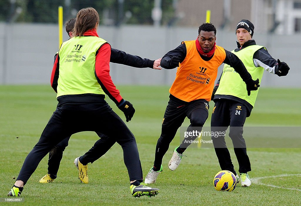 Daniel Sturridge of Liverpool in action during a training session at Melwood Training Ground on January 17, 2013 in Liverpool, England.
