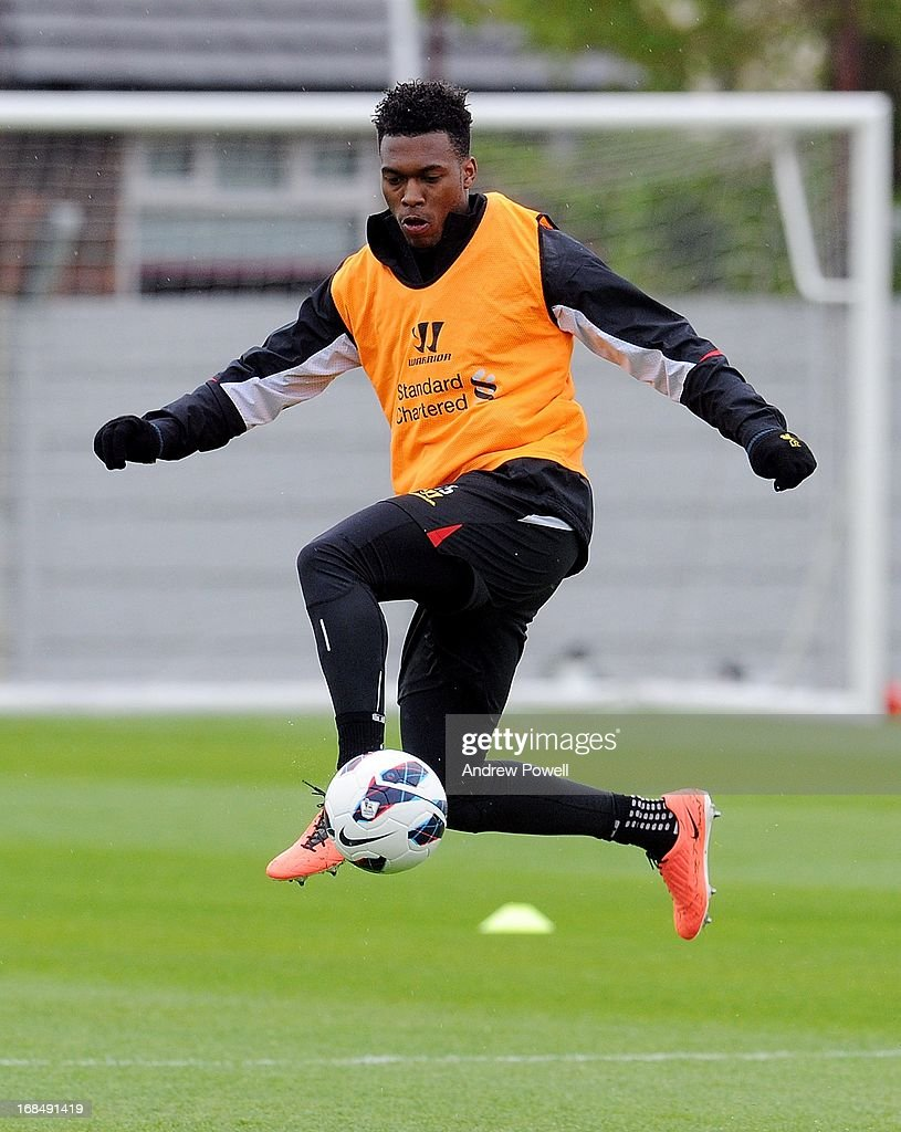 Daniel Sturridge of Liverpool in action during a training session at Melwood Training Ground on May 10, 2013 in Liverpool, England.