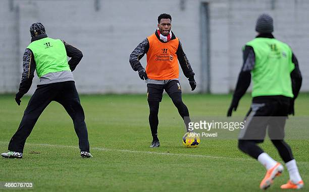 Daniel Sturridge of Liverpool in action during a training session at Melwood Training Ground on January 31 2014 in Liverpool England