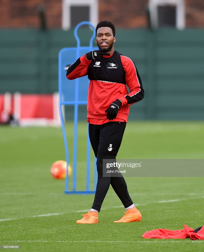 Daniel Sturridge of Liverpool in action during a training session at Melwood Training Ground on December 24, 2015 in Liverpool, England.