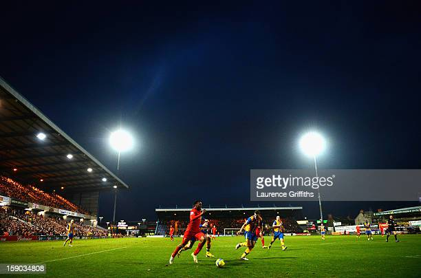 Daniel Sturridge of Liverpool in action during the FA Cup with Budweiser Third Round match between Mansfield Town and Liverpool at One Call Stadium...
