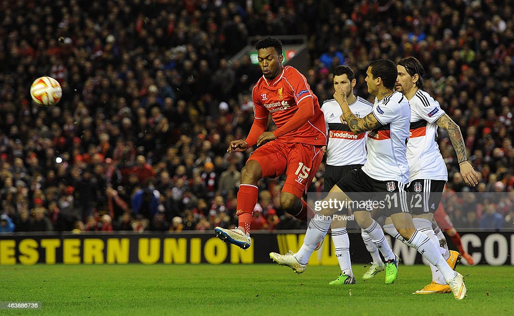 Daniel Sturridge of Liverpool in action during the UEFA Europa League Round of 32 match between Liverpool FC and Besiktas JK on February 19, 2015 in Liverpool, United Kingdom.