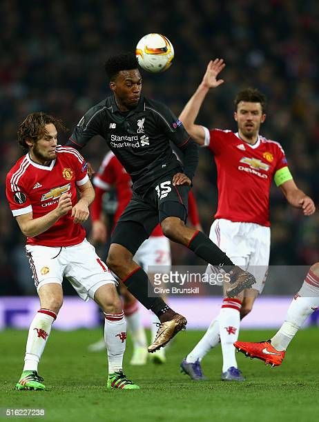 Daniel Sturridge of Liverpool in action during the UEFA Europa League round of 16 second leg match between Manchester United and Liverpool at Old...