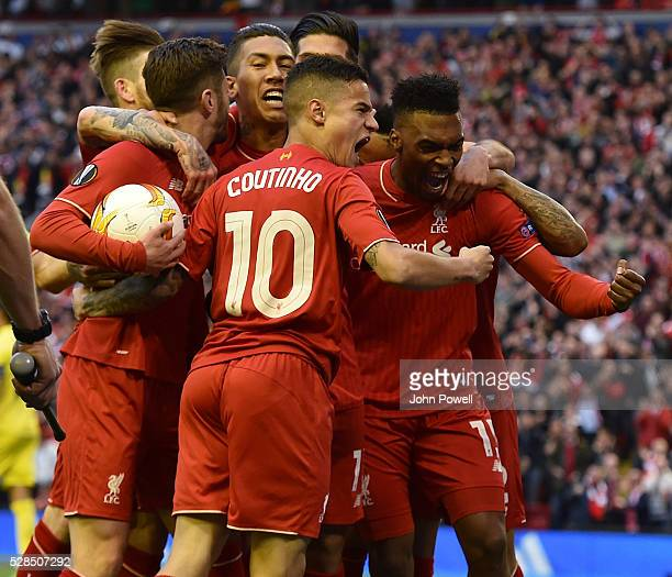 Daniel Sturridge of Liverpool is congratulated after his goal during the UEFA Europa League Semi Final Second Leg match between Liverpool and...