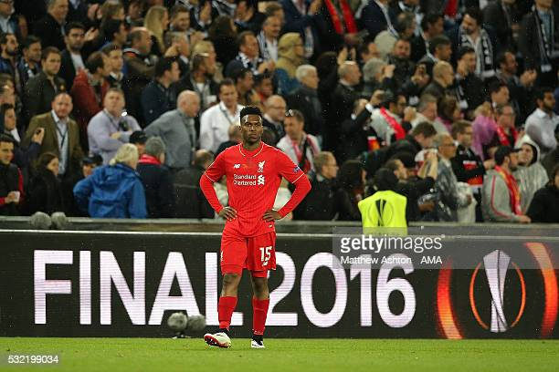 Daniel Sturridge of Liverpool looks dejected during the UEFA Europa League Final between Liverpool and Sevilla at St JakobPark on May 18 2016 in...