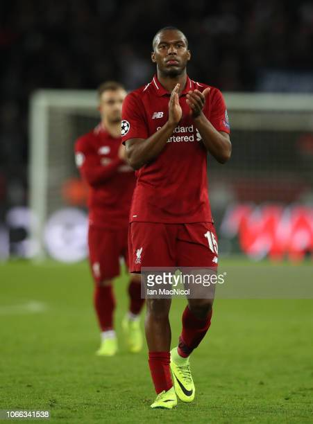 Daniel Sturridge of Liverpool reacts during the Group C match of the UEFA Champions League between Paris SaintGermain and Liverpool at Parc des...
