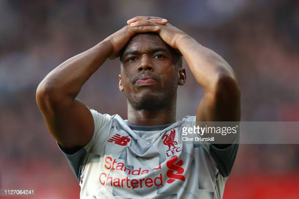 Daniel Sturridge of Liverpool reacts during the Premier League match between Manchester United and Liverpool FC at Old Trafford on February 24, 2019...