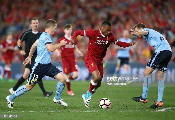 Daniel Sturridge of Liverpool runs at the Sydney defence during the International Friendly match between Sydney FC and Liverpool FC at ANZ Stadium on...