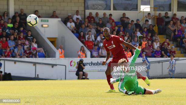 Daniel Sturridge of Liverpool scores a goal during the Preseason friendly between Chester FC and Liverpool on July 7 2018 in Chester United Kingdom