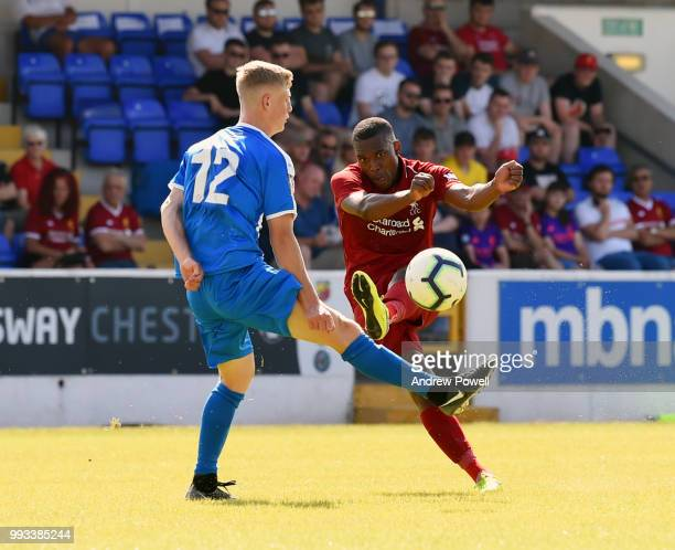 Daniel Sturridge of Liverpool scores another goal for Liverpool during the Preseason friendly between Chester FC and Liverpool on July 7 2018 in...