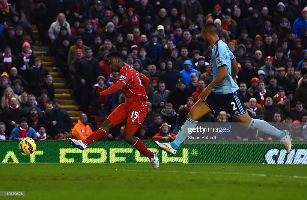 Daniel Sturridge of Liverpool scores his goal during the Barclays Premier League match between Liverpool and West Ham United at Anfield on January 31, 2015 in Liverpool, England.