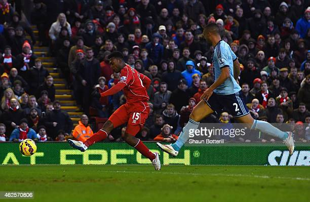Daniel Sturridge of Liverpool scores his goal during the Barclays Premier League match between Liverpool and West Ham United at Anfield on January 31...