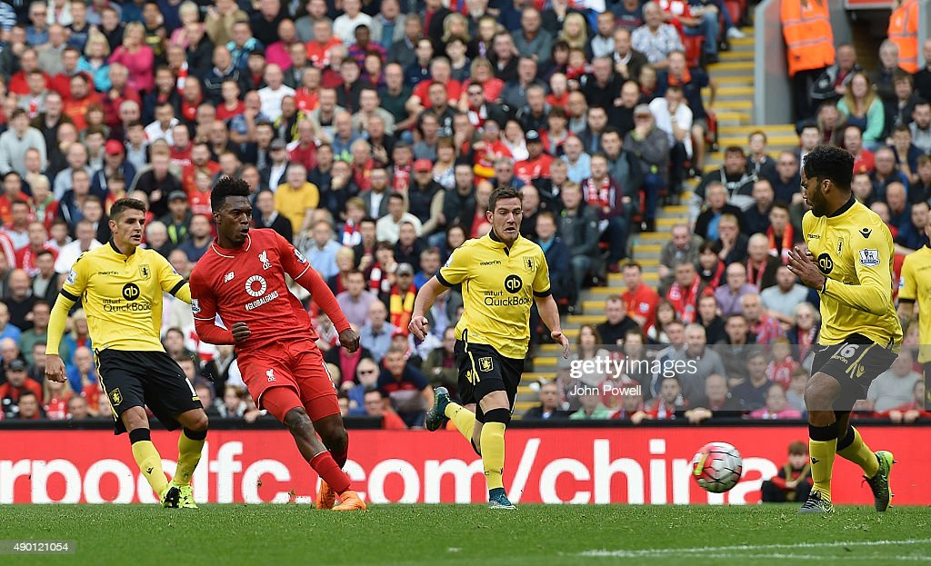 Daniel Sturridge of Liverpool scores his second goal during the Barclays Premier League match between Liverpool and Aston Villa on September 26, 2015 in Liverpool, United Kingdom.
