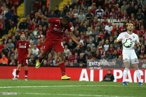 Daniel Sturridge of Liverpool scores his sides 3rd goal during the preseason friendly match between Liverpool and Torino at Anfield on August 7 2018...