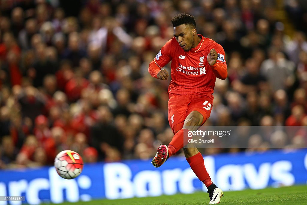Daniel Sturridge of Liverpool scores his sides third goal during the Barclays Premier League match between Liverpool and Everton at Anfield, April 20, 2016, Liverpool, England