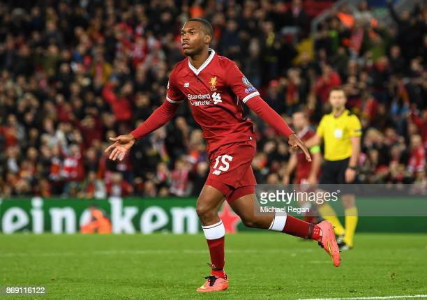Daniel Sturridge of Liverpool scores his sides third goal during the UEFA Champions League group E match between Liverpool FC and NK Maribor at...