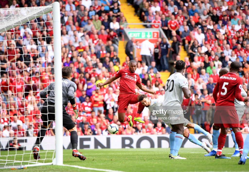 Daniel Sturridge of Liverpool scores his team's fourth goal during the Premier League match between Liverpool FC and West Ham United at Anfield on August 12, 2018 in Liverpool, United Kingdom.