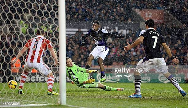 Daniel Sturridge of Liverpool scores the fifth goal during the Barclays Premier Leauge match between Stoke City and Liverpool at the Britannia...