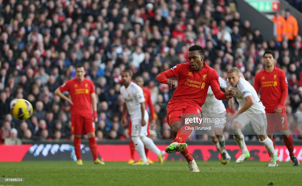 Daniel Sturridge of Liverpool scores the fifth goal from the penalty spot during the Barclays Premier League match between Liverpool and Swansea City at Anfield on February 17, 2013 in Liverpool, England.