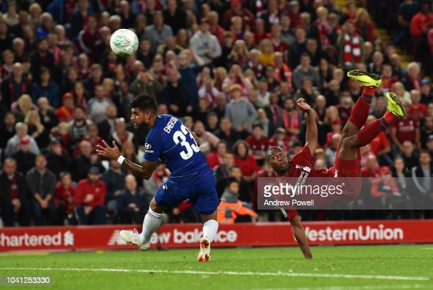 Daniel Sturridge of Liverpool scores the first goal during the Carabao Cup Third Round match between Liverpool and Chelsea at Anfield on September 25...