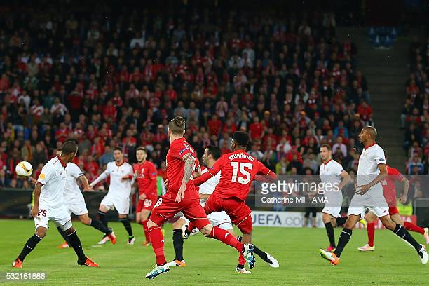Daniel Sturridge of Liverpool scores the first goal to make the score 10 during the UEFA Europa League Final between Liverpool and Sevilla at St...