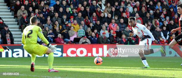 Daniel Sturridge of Liverpool scores the second goal during the Budweiser FA Cup fourth round match between Bournemouth and Liverpool at Goldsands...