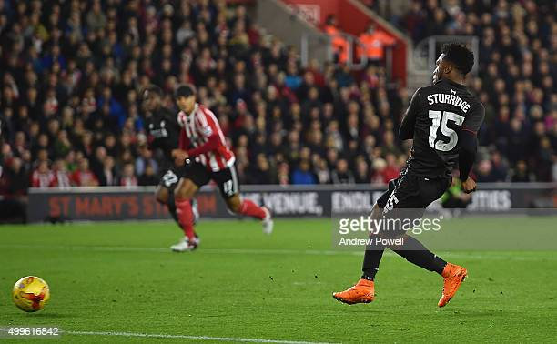 Daniel Sturridge of Liverpool scores the second goal during the Capital One Cup Quarter Final match between Southampton and Liverpool at St Mary's...