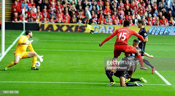 Daniel Sturridge of Liverpool scores the second goal during the Barclays Premier League match between Liverpool and Crystal Palace at Anfield on...