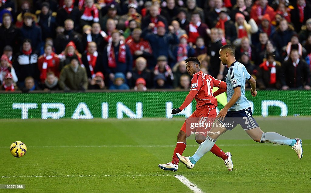 Daniel Sturridge of Liverpool scores the second goal during the Barclays Premier League match between Liverpool and West Ham United at Anfield on January 31, 2015 in Liverpool, England.