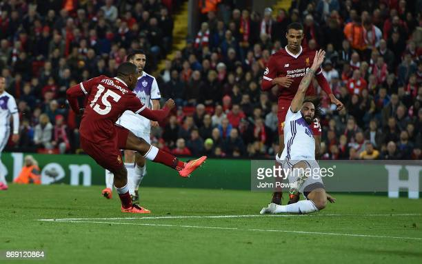 Daniel Sturridge of Liverpool scores the third goal during the UEFA Champions League group E match between Liverpool FC and NK Maribor at Anfield on...
