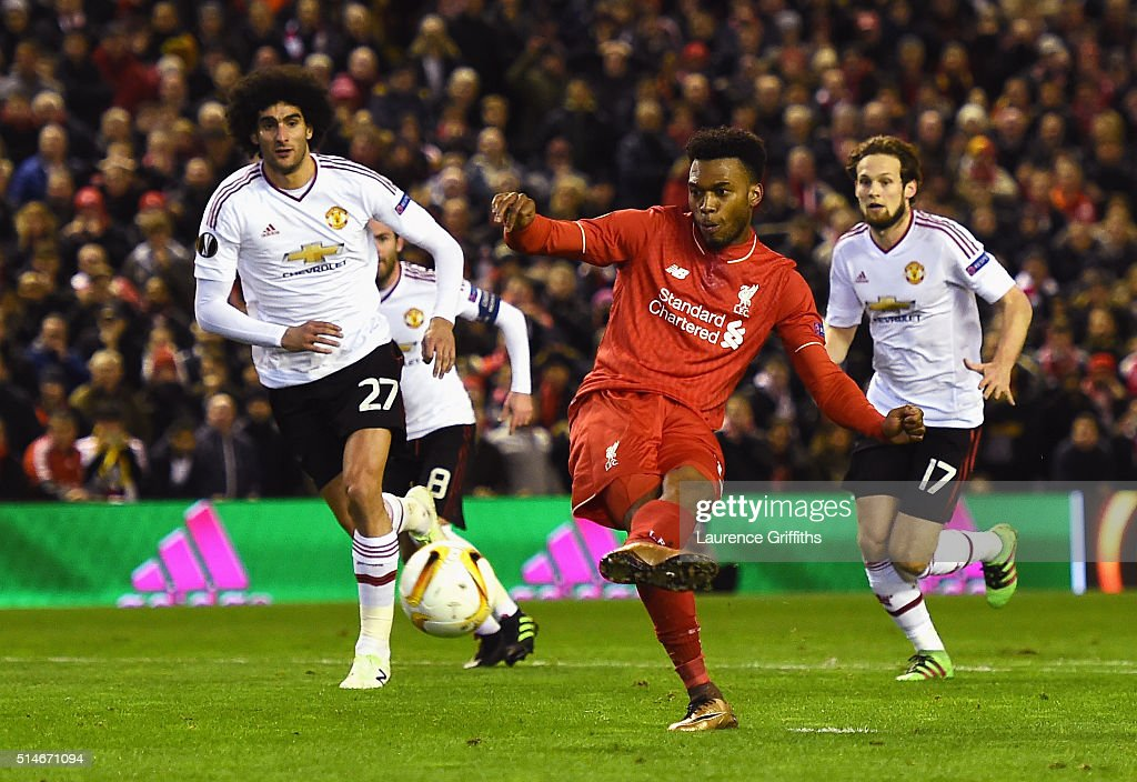 Daniel Sturridge of Liverpool scores their first goal from the penalty spot during the UEFA Europa League Round of 16 first leg match between Liverpool and Manchester United at Anfield on March 10, 2016 in Liverpool, United Kingdom.