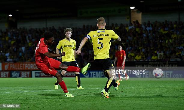 Daniel Sturridge of Liverpool scoring the fifth during the EFL Cup match between Burton Albion and Liverpool at the Pirelli Stadium on August 23 2016...