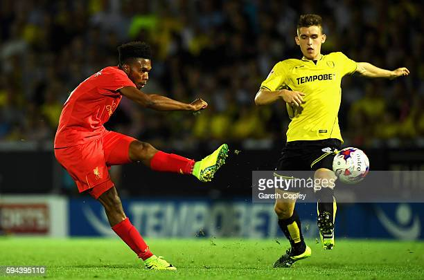 Daniel Sturridge of Liverpool shoots at goal during the EFL Cup second round match between Burton Albion and Liverpool at Pirelli Stadium on August...