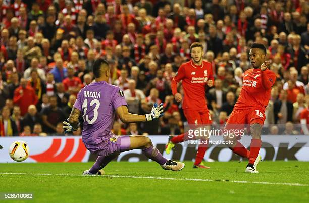 Daniel Sturridge of Liverpool shoots past goalkeeper Alphonse Areola of Villarreal to score their second goal during the UEFA Europa League semi...