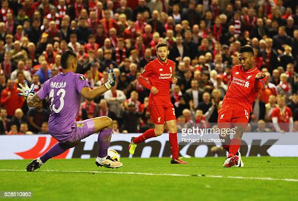 Daniel Sturridge of Liverpool shoots past goalkeeper Alphonse Areola of Villarreal to score their second goal during the UEFA Europa League semi...
