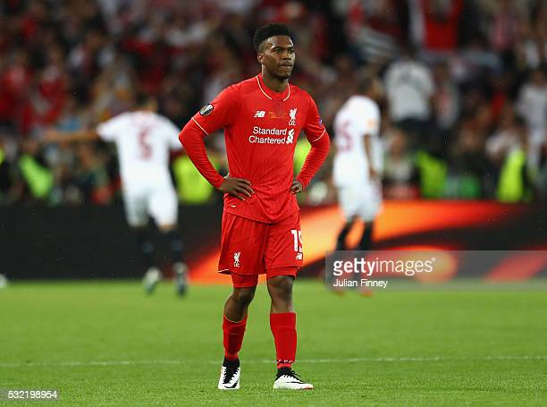 Daniel Sturridge of Liverpool shows his dejection after the UEFA Europa League Final match between Liverpool and Sevilla at St. Jakob-Park on May 18,...