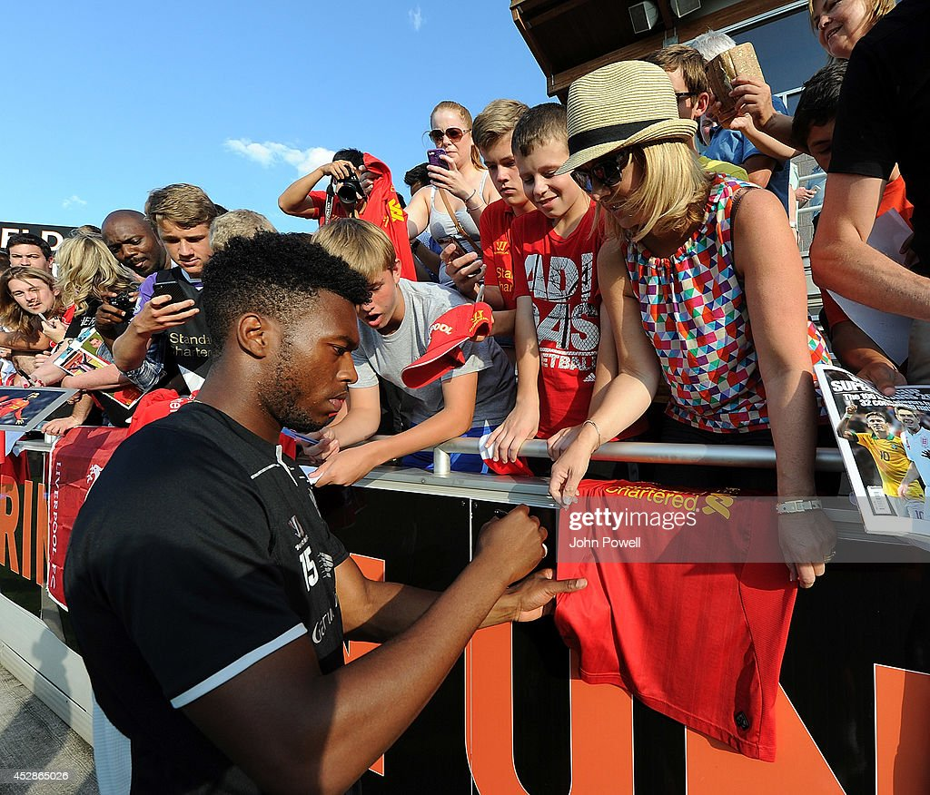 Daniel Sturridge of Liverpool signing autographs after a training session at Princeton University on July 28, 2014 in Princeton, New Jersey.