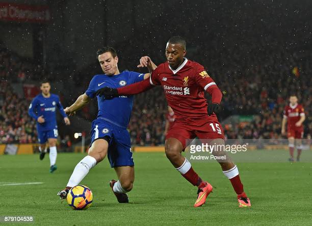Daniel Sturridge of Liverpool with Cesar Azpilicueta of Chelsea during the Premier League match between Liverpool and Chelsea at Anfield on November...
