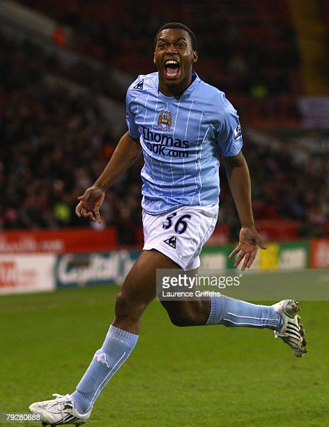 Daniel Sturridge of Manchester City celebrates scoring his team's first goal during the E.ON sponsored FA Cup Fourth Round match between Sheffield...