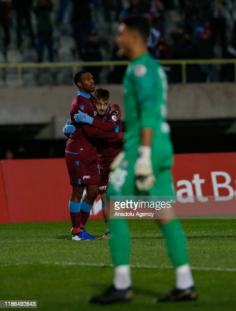 Daniel Sturridge of Trabzonspor celebrates after scoring a goal during Ziraat Turkish Cup 5th round soccer match between Altay and Trabzonspor at...