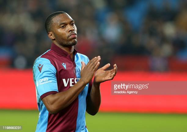 Daniel Sturridge of Trabzonspor greets fans during the Ziraat Turkish Cup soccer match between Trabzonspor and Buyuksehir Belediye Erzurumspor in...