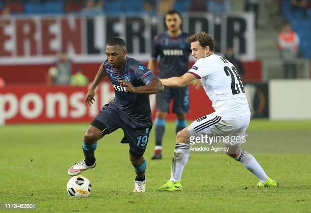 Daniel Sturridge of Trabzonspor in action against Fabian Frei of Basel during the UEFA Europa League Group C Match between Trabzonspor and Basel in...