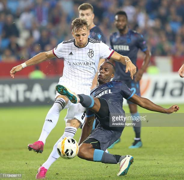 Daniel Sturridge of Trabzonspor in action against Silvan Widmer of Basel during the UEFA Europa League Group C Match between Trabzonspor and Basel in...