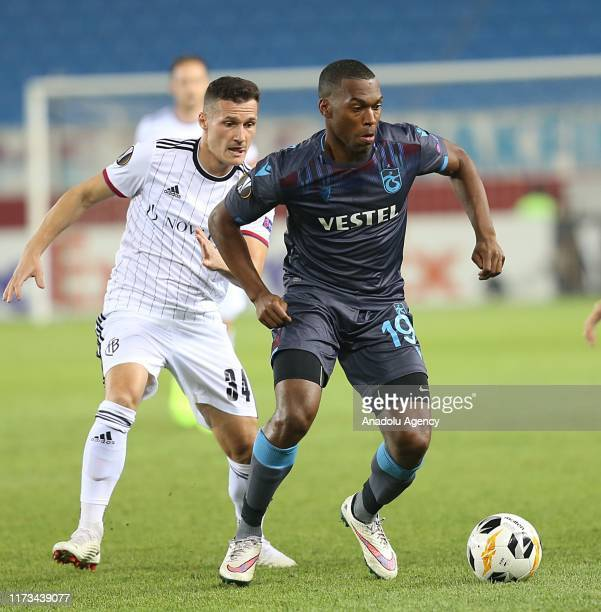 Daniel Sturridge of Trabzonspor in action against Taulant Xhaka of Basel during the UEFA Europa League Group C Match between Trabzonspor and Basel in...