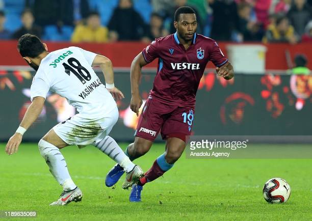 Daniel Sturridge of Trabzonspor in action against Yasin Palaz of Altay during Ziraat Turkish Cup 5th round soccer match between Trabzonspor and Altay...