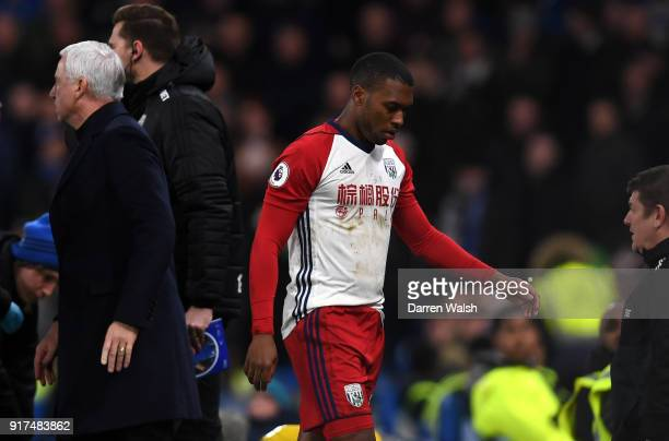 Daniel Sturridge of West Bromwich Albion goes of injured during the Premier League match between Chelsea and West Bromwich Albion at Stamford Bridge...